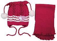 AJS Комплект шапка и шарф 'Сердечко' AJS  вишневый р.48 (акрил)