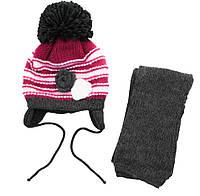 AJS Комплект шапка и шарф 'Розочки' AJS  серо-красный р.48 (шерсть30%*акрил70%)