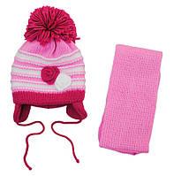 AJS Комплект шапка и шарф 'Розочки' AJS  красно-розовый р.48 (шерсть30%*акрил70%)