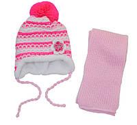 AJS Комплект шапка и шарф 'Цветок' AJS  розовый р.48 (шерсть30%*акрил70%)