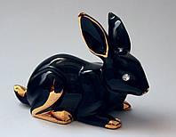 Кролик чёрный с золотом фарфоровый.