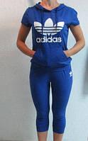 Летний спортивный костюм Adidas синий (99813) код 908А