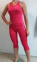 Летний спортивный костюм Adidas розовый (1451) код 911А