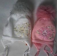 Детские теплые шапки на флисе Меховой бубон ,возраст полгода-год S204