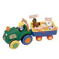 Игрушка на колесах Трактор с трейлером на колесах свет укр язык Kiddieland 024753