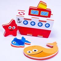 Игровой набор для ванной 3D модель ПАРОХОД 9 деталей Meadow Kids MK 195