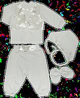 Крестильный набор для мальчика из интерлока 4-х предм. 56,62,68,74