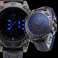 Мужские часы SHARK LED Digital Blue Date Day Leather Men Army Wrist Watch