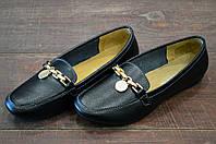 Черные кожаные мокасины женские  AllShoes на каждый день