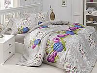 Постельное бельё двуспальное ранфорс 200х220 Gokay Meyra серо-бежевый с цветами.