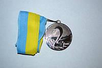 Медаль наградная с лентой, d - 5 см.(серебро ) 2 место .