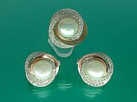 """Серебряный набор """"Богема"""" с золотыми вставками, мелким цирконием и натуральным жемчугом."""