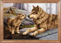 Ткань с рисунком для вышивки картин бисером Волчица с волченком МК КС-034