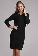 Нарядное вязанное платье черного цвета, фото 1