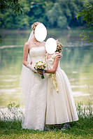 Нежное свадебное платье гипюровое с легким шлейфом