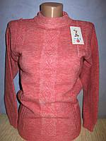 Свитер вязанный теплый  подростковый розовый 2016