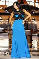 "Вечернее платье ""Кассандра""-голубая бирюза (без шлейфа) 46-48"