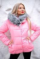 Зимняя женская куртка-пуховик на синтепоне. Цвет красный,розовый,белый. VH 7043