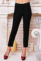 Зауженные  черные женские брюки с разрезами на щиколотках из костюмного шелка