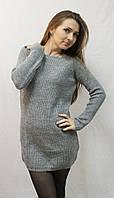 Стильное молодежное платье-туника вязка серое