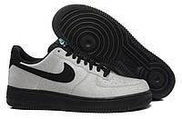 Кроссовки мужские кожаные Nike Air Force 1 low Серо-черные Оригинальные