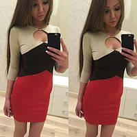Женское красивое трехцветное платье (расцветки)