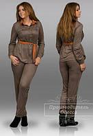 Костюм женский блуза + брюки замш-трикотаж размеры: 48, 50, 52, 54