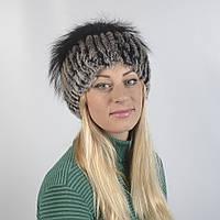 Женская шапка из натурального меха рекса (кролик с шеншилой) (код 29-262)