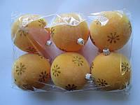 Набор новогодних пластиковых шаров 80 мм (упаковка 6 шт) бархат желтый с золотыми снежинками