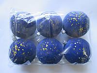 Набор новогодних пластиковых шаров 80 мм (упаковка 6 шт) бархат синий с золотыми паетками