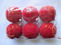 Набор новогодних пластиковых шаров 80 мм (упаковка 6 шт) бархат красный с золотыми паетками
