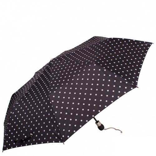 Строгий женский зонт в горошек полуавтомат ZEST (ЗЕСТ), черный, Z23629-12