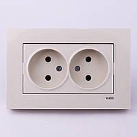 Розетка электрическая VI-KO Karre скрытой установки двойная без заземления (кремовая)