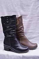 Кожаные  зимние сапоги (черные и бежевые).Большие и стандартные размеры. Украина.