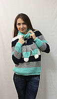 Полосатый женский свитер с шарфиком. Хит сезона