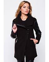 Модное женское пальто с кожаными вставками на весну и осень