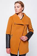 Женское пальто из кашемира с кожаным рукавом на осень-весну Горчица