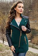 Женское молодежное пальто на весну-осень с кожаным рукавом