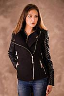 Женское короткое демисезонное полупальто с кожаным рукавом