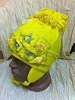 красивая  шапка для  девочки двойная с украшением с ушками