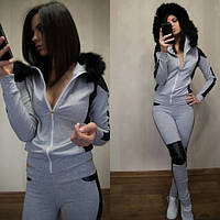 Женский серый спортивный костюм с мехом Ored q-280576