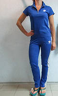 Женский летний спортивный костюм Adidas ярко голубой (9987) код 900А
