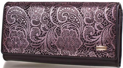 Обворожительный  женский кожаный кошелек VALENSIY (ВАЛЕНСИ) DSA01318-1-102-bl-purpule (черный)