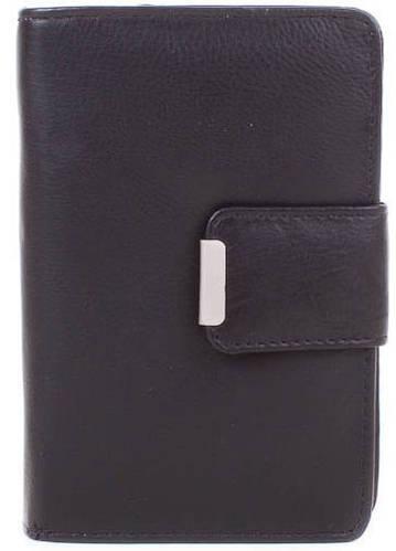 Строгий  женский кожаный кошелек 4U CAVALDI (ФО Ю КАВАЛДИ) DNKN109CCF-black (черный)