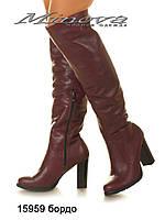 Женские кожаные ботфорты на каблуке