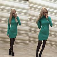Женское красивое теплое платье с длинными рукавами