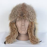 Натуральная зимняя мужская шапка с натуральной кожи и лисичьего меха