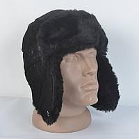 Мужская шапка ушанка из кожзама - Искусвенный мех Мутона (код 29-230)