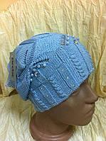 Ажурная  одинарная вязаная шапочка для девочек цвет голубой