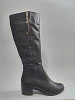 Кожаные женские зимние модные удобные сапоги на невысоком устойчивом каблуке 38р Alseya